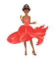afro american girl in dress vector image