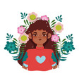 afro american young woman cartoon flowers portrait vector image vector image