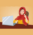 arab business woman in traditional clothes working vector image vector image