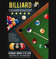 billiards game table with cue and balls vector image