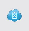 Blue cloud cancel icon vector image vector image