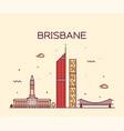 brisbane skyline big city australia line vector image vector image