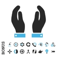 Care Hands Flat Icon With Bonus vector image vector image