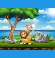 cartoon safari boy with lion in th vector image vector image