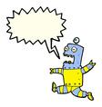 cartoon terrified robot with speech bubble vector image vector image