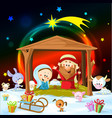 christmas nativity with lights and cute animals vector image vector image