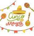 cinco de mayo emblem design with hand drawn vector image
