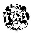 circle of cute animals silhouettes mammals vector image