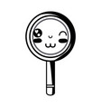contour kawaii cute funny magnifying glass vector image