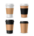 cups coffee paper realistic takeaway cup vector image