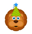cute lion with a party hat avatar vector image vector image