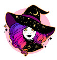 cute young witch with beautiful iridescent hair vector image vector image