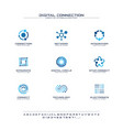 digital connect creative symbols set font concept vector image vector image