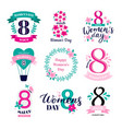 eight march badges international womens day vector image