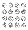 fire line icon set vector image vector image