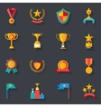 Flat Design Awards Symbols and Trophy Icons Set vector image vector image