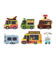 food truck colorful flat set vector image vector image