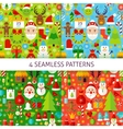 Four New Year Seamless Patterns vector image vector image