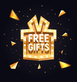free gifts isolated banner gift box retro vector image vector image
