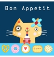 Funny cat with cake vector image vector image