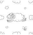 fuzzy sheep flying in the sky vector image vector image