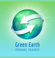 green planet earth with white arrows vector image vector image