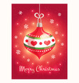 greeting card with a beautiful christmas toy vector image vector image