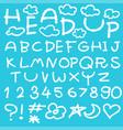 happy cloud fun doodle alphabet set vector image vector image