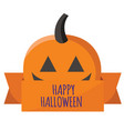 happy halloween ribbon pumpkin background i vector image
