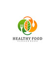 healthy food logo design template food with leaf vector image vector image
