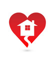 house inside a warm heart icon vector image vector image