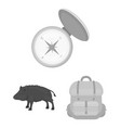 hunting and trophy monochrome icons in set vector image vector image