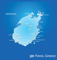 island of paros in greece map in colorful vector image vector image