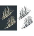 large sailing ship isometric drawings vector image vector image