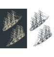 large sailing ship isometric drawings with the vector image vector image