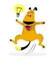 laughing jumping dog idea lamp good mood and vector image