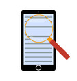 magnifying glass on text a mobile phone vector image vector image