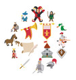 medieval cartoon icons set vector image