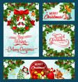 merry christmas holiday greeting cards vector image vector image
