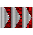 metal brushed background with perforation red and vector image vector image
