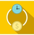 Money and time icon flat style vector image vector image