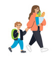 mother and child go woman holding package with vector image