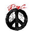 Peace hand drawn linotype made symbol vector image vector image