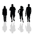 people walking black silhouette vector image vector image