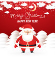 santa claus in winter snowy forest moon vector image