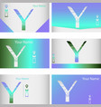 set of six green and blue business cards vector image
