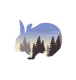 silhouette of a rabbit with inside the landscape vector image vector image