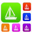 small boat set collection vector image vector image