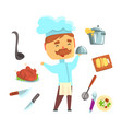 smiling chef kitchen appliances and different vector image vector image
