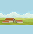 summer rural landscape with barn field with green vector image